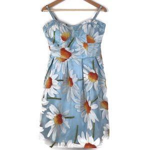 Minuet Daisy Blue Floral Bustier Dress New